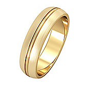 9ct Yellow Gold - 5mm Essential D-Shaped Single Rib and Satin Edged Band Commitment / Wedding Ring -