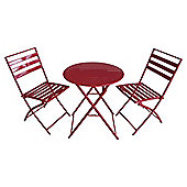 Milan Folding Metal Bistro Set, Red