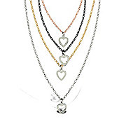 sterling silver, rhodium, Ruthenium and Gilded belcher Heart necklace