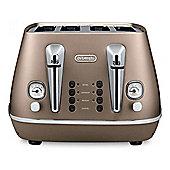 Delonghi CTI4003 4-Slice Toaster, 1800w Power, Reheat Function in Bronze