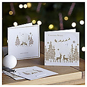 Luxury Gold Winter Scene Christmas Cards, 10 pack