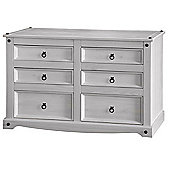 Corona White Washed Wax Pine Wide 3+3 (6) Drawer Chest Elegant Style