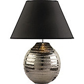 The Lighting & Interiors Group Cosmo Table Lamp - Pewter - Black Taffeta