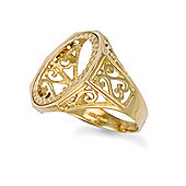 9ct Solid Gold Full Sovereign Size coin mount Ring with scroll design shoulders