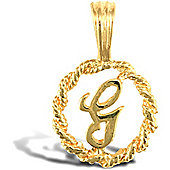Jewelco London 9ct Gold Rope Initial ID Personal Pendant, Letter G - 0.9g