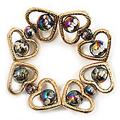 Gold Tone Heart Glass Bead Flex Bracelet -17cm Length