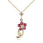 QP Jewellers 18in 1.15mm Flower Necklace with Peridot & Ruby Pendant in 14K Rose Gold