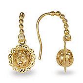 Blossom Copenhagen Gold Plated Sterling Silver White Cubic Zirconia Floral Ball Drop Earrings