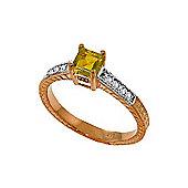 QP Jewellers Diamond & Peridot Ornate Gemstone Ring in 14K Rose Gold
