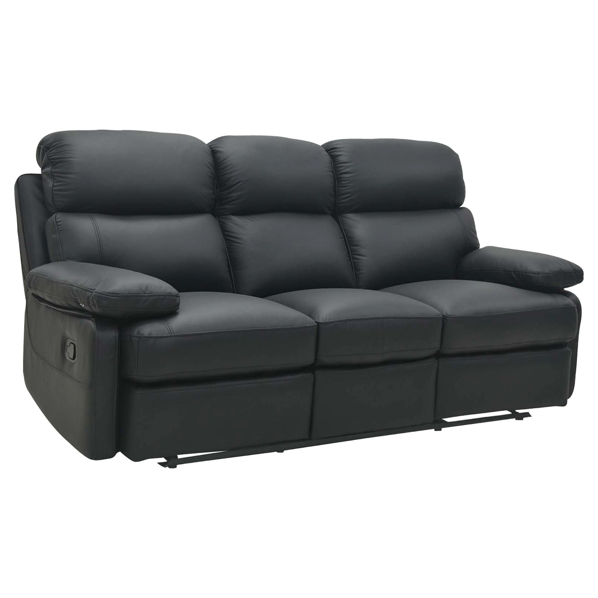 Cordova Leather Large Recliner Sofa Black at Tesco Direct