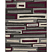 Think Rugs Matrix Grey/Purple Rug - 120 cm x 170 cm (3 ft 9 in x 5 ft 7 in)