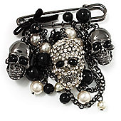 'Skull, Chain & Bead' Charm Safety Pin Brooch (Gun Metal Finish) - Catwalk - 2014