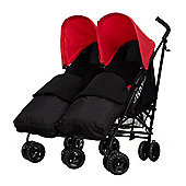 Obaby Apollo Black & Grey Twin Stroller with 2 Black Footmuffs - Red