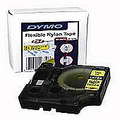 Dymo ID1 12mm (3.5 Mtr) Black on Yellow Flexible Nylon Tape for RhinoPRO 5000