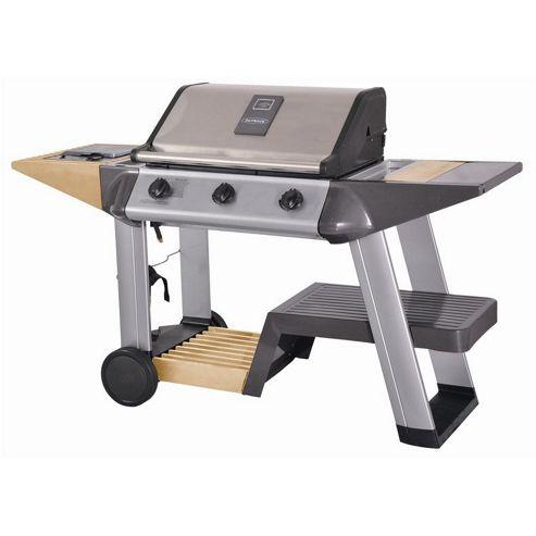 Outback Excelsior 3 Burner Hooded Stainless Steel BBQ Including Gas Hose & Regulator