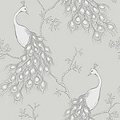Empress Peacock Wallpaper - Stone and White - FD40712