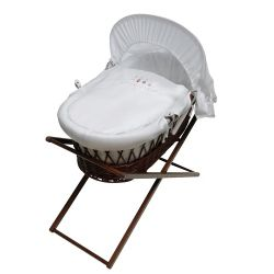 Baroo ABC Moses Wicker Basket in Dark