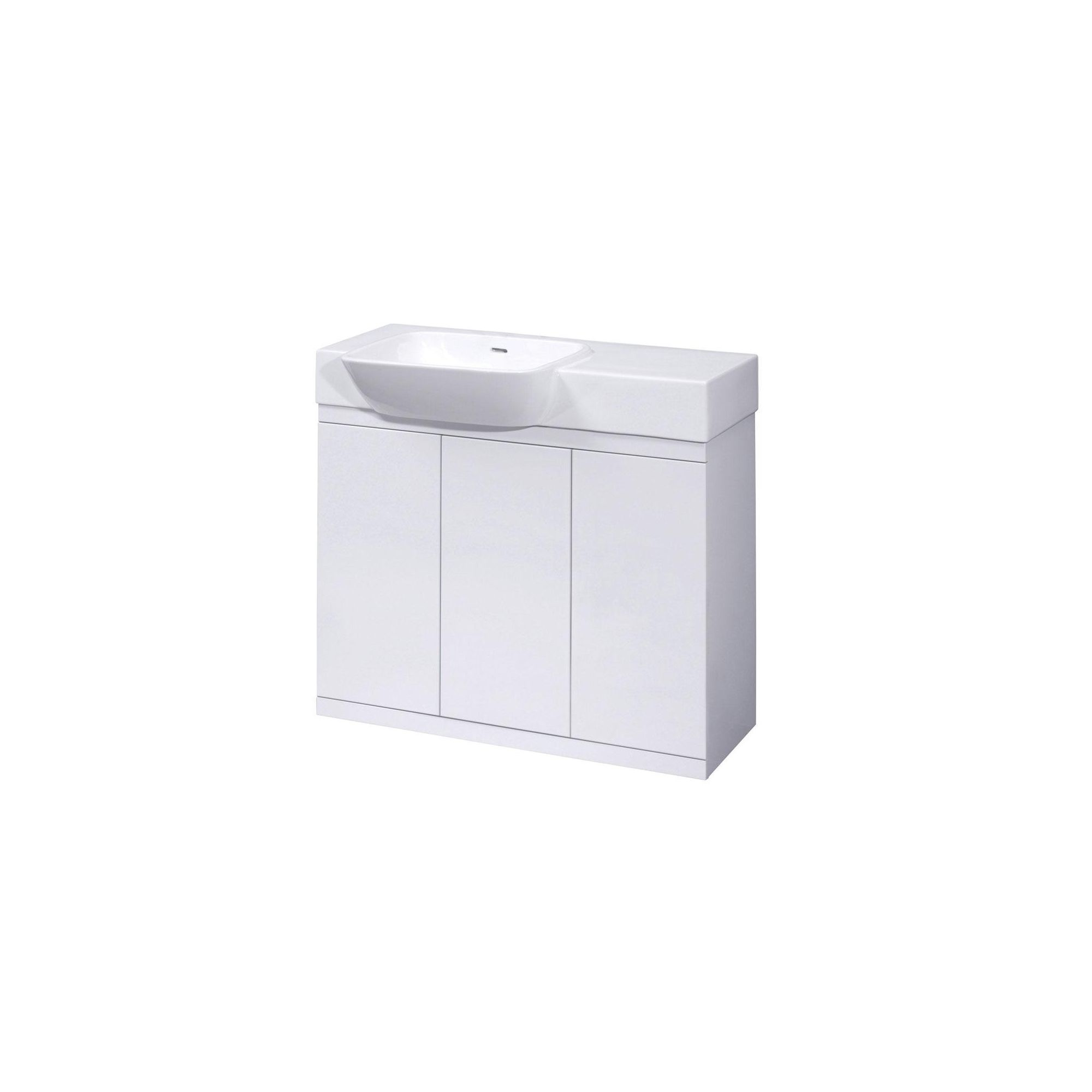 Ultra Lux White Floor Mounted Vanity Unit and Basin 695mm High x 900mm Wide