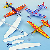 Colour in Plane Gliders to Make & Decorate Flying Children's Toys Party Bag Filler Games Prizes (Pack of 8)