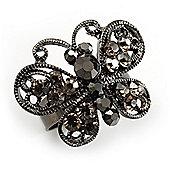 Ash Grey Diamante Butterfly Ring (Black Tone)