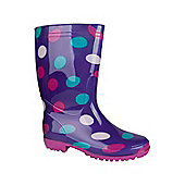 Rain Spot Womens Wellie Wellington Waterproof Fabric Lined Rain Printed Boots - Purple