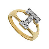 Jewelco London 9ct Gold Ladies' Identity ID Initial CZ Ring, Letter T - Size K