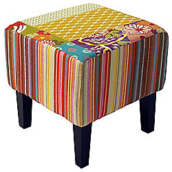 Shabby Chic Square Pouffe Stool /Wood Legs - Multi-coloured