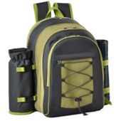 Confidence Picnic Backpack Hamper Green Inc Plates Cutlery