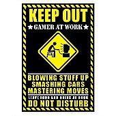 Gloss Black Framed Warning Sign Gamer at Work Poster