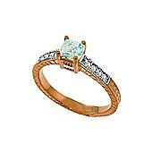 QP Jewellers Diamond & Aquamarine Ornate Gemstone Ring in 14K Rose Gold