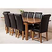 Farmhouse Rustic Solid Oak Extending 200 - 280 cm Dining Table with 8 Brown Washington Chairs