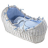 Isabella Alicia White Izzy-Pod Moses Basket (Dimple Blue)