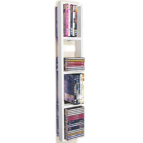 buy wall mounted cd dvd blu ray storage shelf white. Black Bedroom Furniture Sets. Home Design Ideas