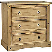 Corona 3 Drawer Chest, Cabinet, Solid Pine, Mexican Pine Chest of Drawers
