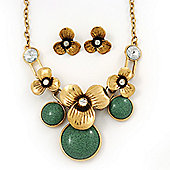Burn Gold Diamante 'Flower' Necklace With Green Stones & Stud Earrings Set - 42cm Length/ 6cm Extension