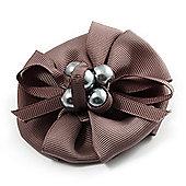 Light Grey Fabric Pearl Style Flower Brooch