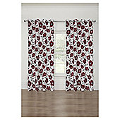 Poppy Printed Lined Eyelet Curtains - Red - 66 X 90