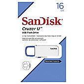 SanDisk 16GB Cruzer U USB, White Body-Blue Slider