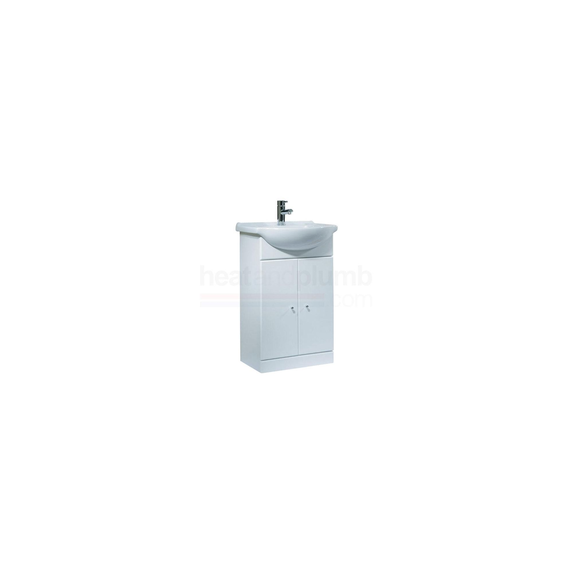 Tavistock Meridian White Twin Door Cabinet and Basin - 1 Tap Hole - 550mm Wide
