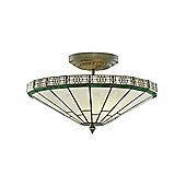 Contemporary Tiffany Ceiling Lighting Fixture with Green Trim