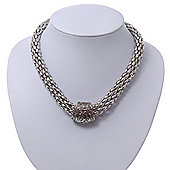 Rhodium Plated Mesh Magnetic Necklace - 40cm Length