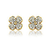 Jewelco London 9ct Yellow Gold - Contemporary Flower Crystal-set Stud - Earrings - Ladies