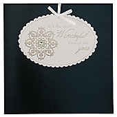 Tesco Luxury Blue Snowflake & Tag Christmas Cards, 6 Pack