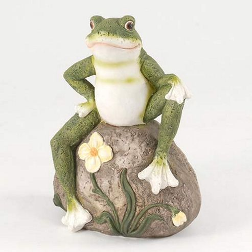 buy 20cm frog on rock garden ornament from our ornaments. Black Bedroom Furniture Sets. Home Design Ideas