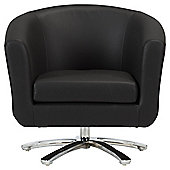 Swivel Leather Effect Tub Chair Black