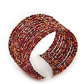 Boho Red/Gold/Orange Glass Bead Cuff Bracelet - Adjustable (To All Sizes)