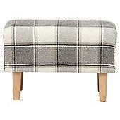 Tub Footstool Fabric Pattern / Check Natural