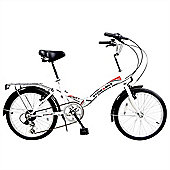 "Stowabike 20"" Folding City V2 Compact Foldable Bike -6 Speed Shimano Gears White"