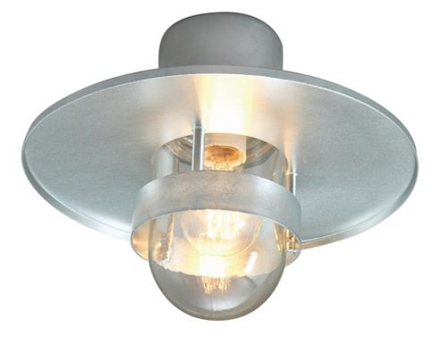 Norlys Bergen Flush Mount Ceiling Light - Galvanised with Clear Shade