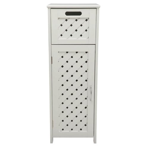 Sheringham White Wood Weave Single Door & Drawer Unit